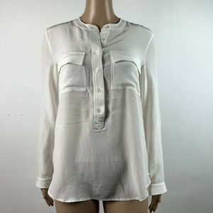 Banana Republic Ivory 100% Silk Popover
